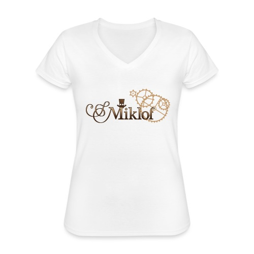 miklof logo gold wood gradient 3000px - Classic Women's V-Neck T-Shirt