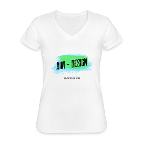 Aim Design - Klassisches Frauen-T-Shirt mit V-Ausschnitt