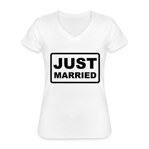 Just Married - Klassisches Frauen-T-Shirt mit V-Ausschnitt