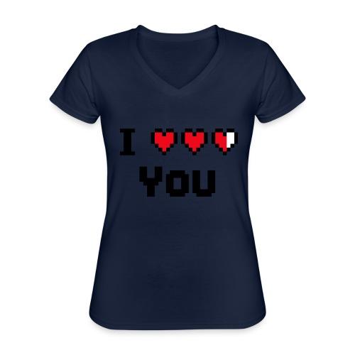 I pixelhearts you - Klassiek vrouwen T-shirt met V-hals