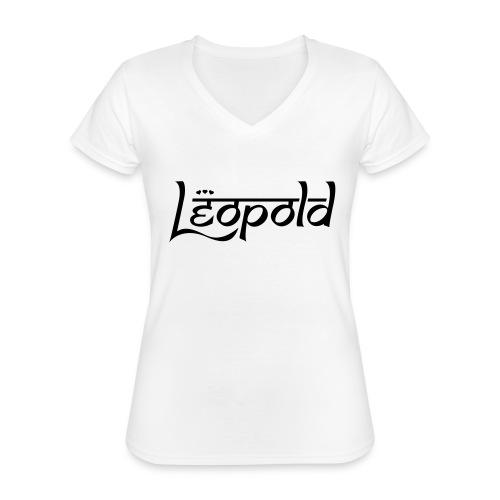 LEOPOLD - Klassisches Frauen-T-Shirt mit V-Ausschnitt