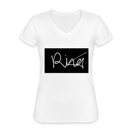 Autogramm - Klassisches Frauen-T-Shirt mit V-Ausschnitt