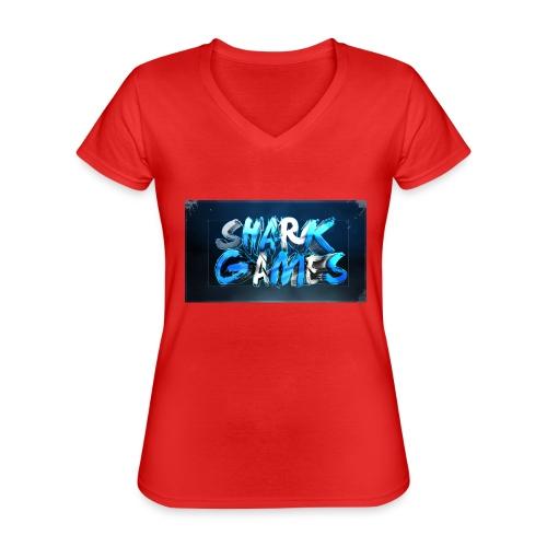 SharkGames - Maglietta da donna classica con scollo a V