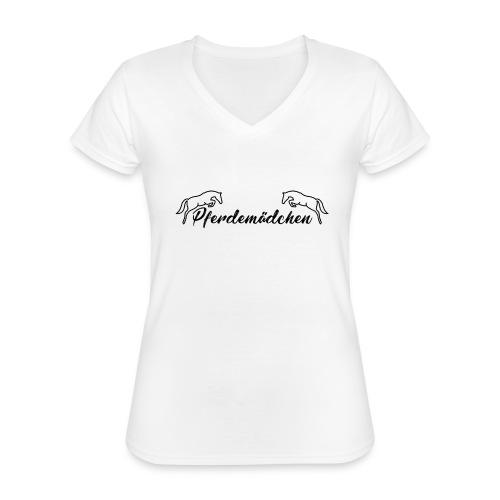 Pferdemädchen - Klassisches Frauen-T-Shirt mit V-Ausschnitt