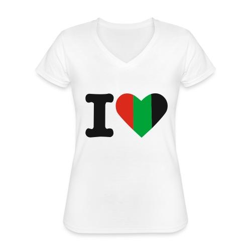 hartjeroodzwartgroen - Klassiek vrouwen T-shirt met V-hals
