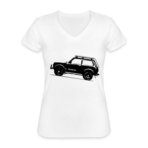 Lada Niva 2121 Russin 4x4 - Klassisches Frauen-T-Shirt mit V-Ausschnitt
