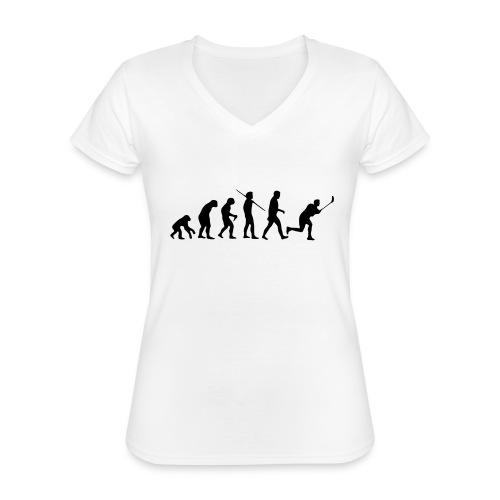 Floorball Evolution Black - Klassisches Frauen-T-Shirt mit V-Ausschnitt