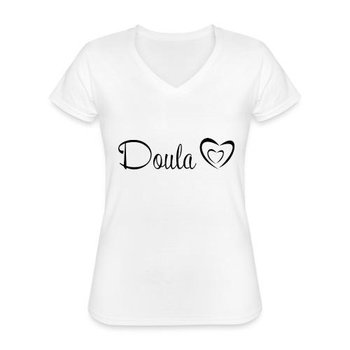 doula sydämet - Klassinen naisten t-paita v-pääntiellä