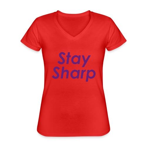 Stay Sharp - Maglietta da donna classica con scollo a V