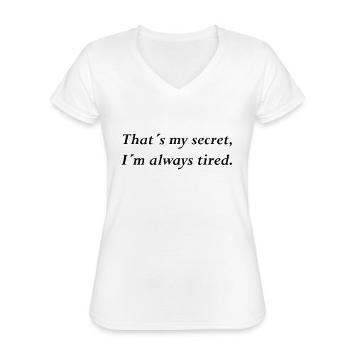 Secret - Klassisches Frauen-T-Shirt mit V-Ausschnitt