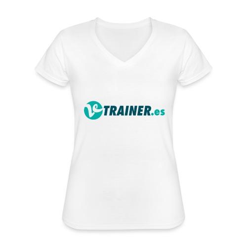 VTRAINER.es - Camiseta clásica con cuello de pico para mujer