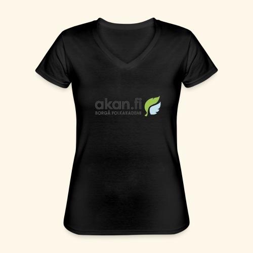 Akan Black - Klassisk T-shirt med V-ringning dam