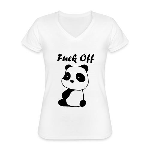 Mad Panda - Klassisches Frauen-T-Shirt mit V-Ausschnitt