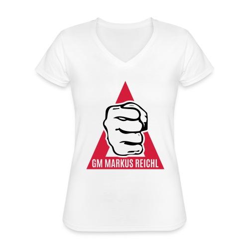 HK-RYU Faust - Klassisches Frauen-T-Shirt mit V-Ausschnitt