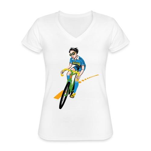 The Bicycle Girl - Klassisches Frauen-T-Shirt mit V-Ausschnitt