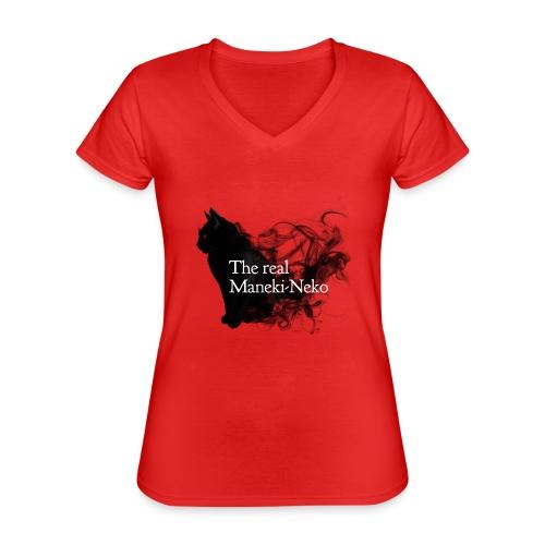 The real Maneky-neko - Camiseta clásica con cuello de pico para mujer