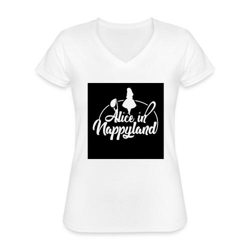 Alice in Nappyland TypographyWhite 1080 - Classic Women's V-Neck T-Shirt