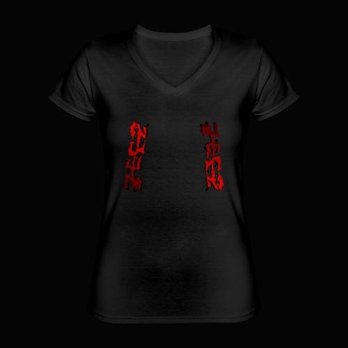 zeez rouge ombre noir abimé - T-shirt classique col V Femme