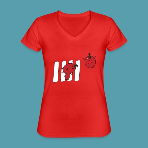 tomaatit - Klassinen naisten t-paita v-pääntiellä