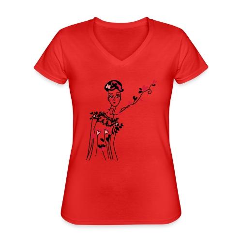 donnina di cuori - Maglietta da donna classica con scollo a V