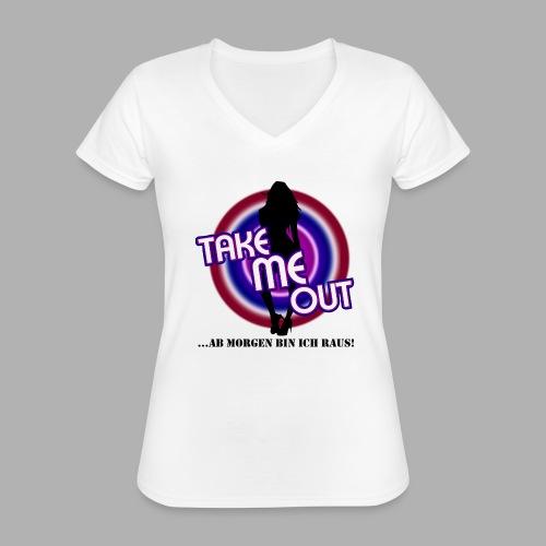 Take me out_Sie_Var. 2 - Klassisches Frauen-T-Shirt mit V-Ausschnitt