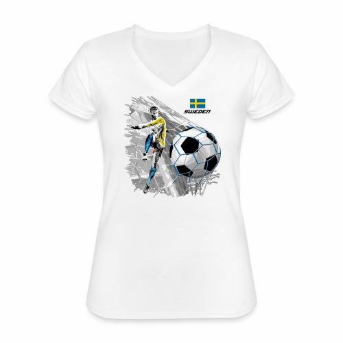 FP22F 16 SWEDEN FOOTBALL - Klassinen naisten t-paita v-pääntiellä