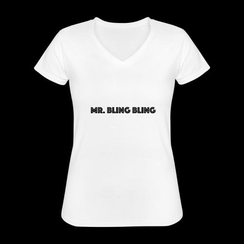 bling bling - Klassisches Frauen-T-Shirt mit V-Ausschnitt