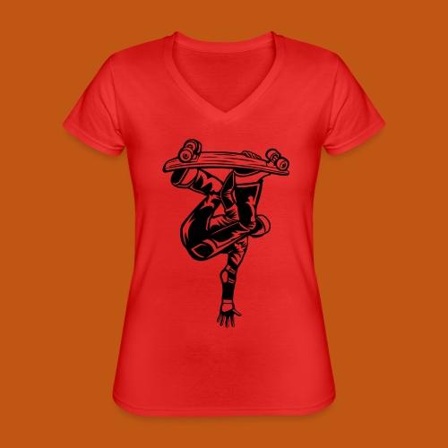 Skater / Skateboarder 03_schwarz - Klassisches Frauen-T-Shirt mit V-Ausschnitt