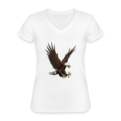 Adler sturzflug - Klassisches Frauen-T-Shirt mit V-Ausschnitt