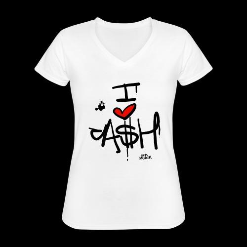 I love Cash - Klassiek vrouwen T-shirt met V-hals