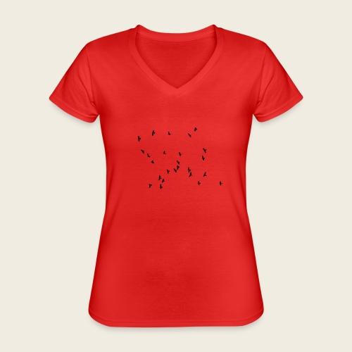 Flying birds - Klassisk dame T-shirt med V-udskæring