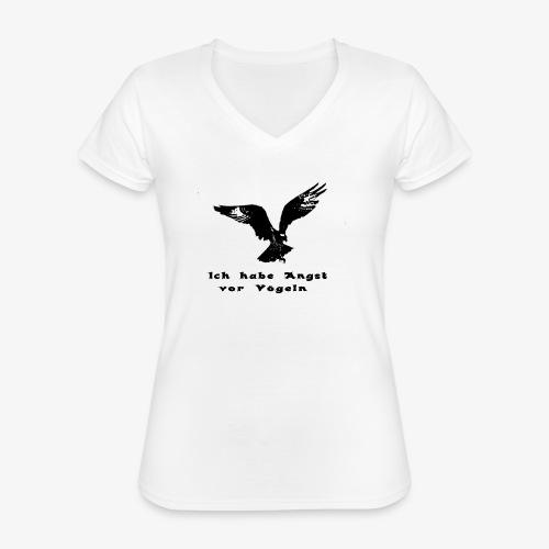 Angst vor Voegeln 1 - Klassisches Frauen-T-Shirt mit V-Ausschnitt