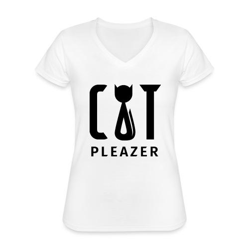 Cat Pleazer Schwarz - Klassisches Frauen-T-Shirt mit V-Ausschnitt