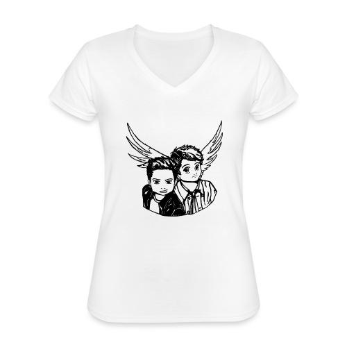 Destiel i sort/hvid - Klassisk dame T-shirt med V-udskæring