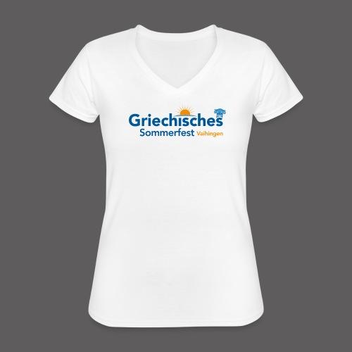 Griechisches Sommerfest Vaihingen - Klassisches Frauen-T-Shirt mit V-Ausschnitt