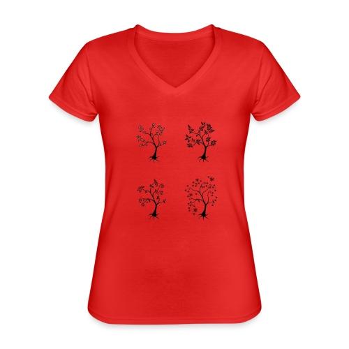 Vuodenajat - Klassinen naisten t-paita v-pääntiellä