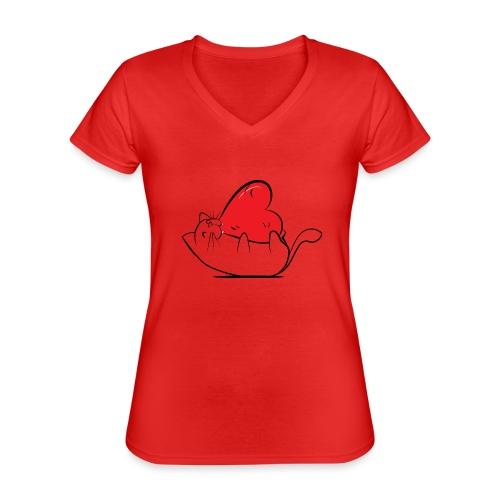 Cat Love - Klassiek vrouwen T-shirt met V-hals