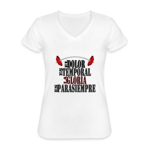 GYM - DOLOR TEMPORAL - Camiseta clásica con cuello de pico para mujer