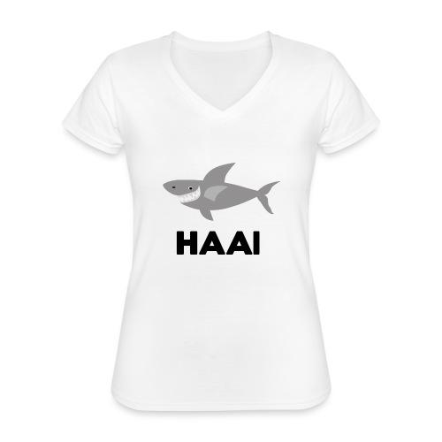 haai hallo hoi - Klassiek vrouwen T-shirt met V-hals