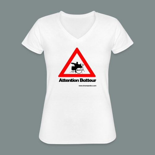 Attention batteur - T-shirt classique col V Femme