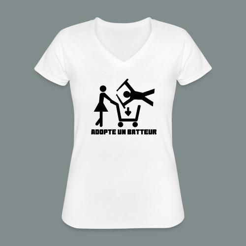 Adopte un batteur - idee cadeau batterie - T-shirt classique col V Femme