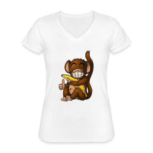 Super Fröhlicher Affe - Klassisches Frauen-T-Shirt mit V-Ausschnitt