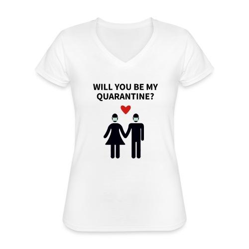 Liebespaar mit Schriftzug - Klassisches Frauen-T-Shirt mit V-Ausschnitt