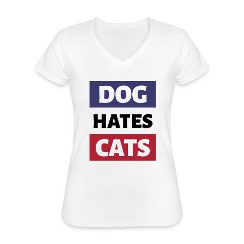 Dog Hates Cats - Klassisches Frauen-T-Shirt mit V-Ausschnitt