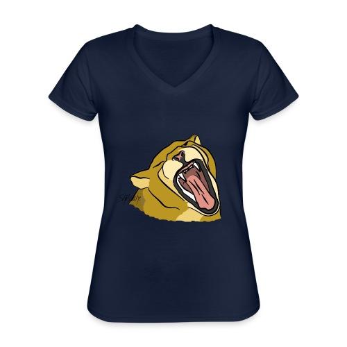 Gähnender / brüllender Löwe - Klassisches Frauen-T-Shirt mit V-Ausschnitt