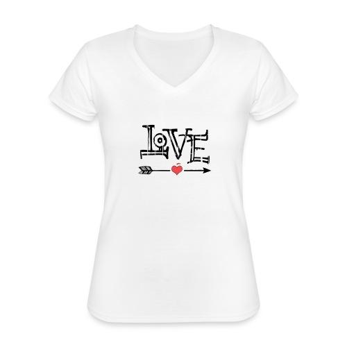 Love flêche - T-shirt classique col V Femme