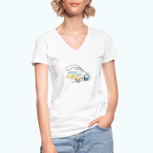 Nähen Putzen Frauen Spruch Handarbeit - Klassisches Frauen-T-Shirt mit V-Ausschnitt