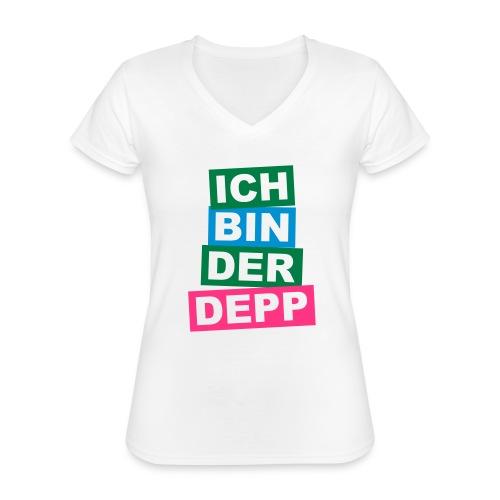 Ich bin der Depp - Balken - Klassisches Frauen-T-Shirt mit V-Ausschnitt