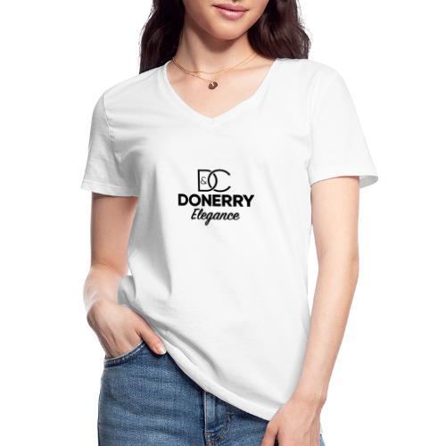 Donerry Elegance Black Logo on White - Classic Women's V-Neck T-Shirt