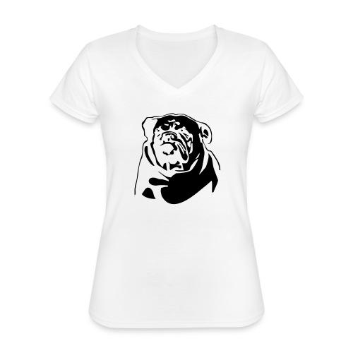 English Bulldog - negative - Klassinen naisten t-paita v-pääntiellä